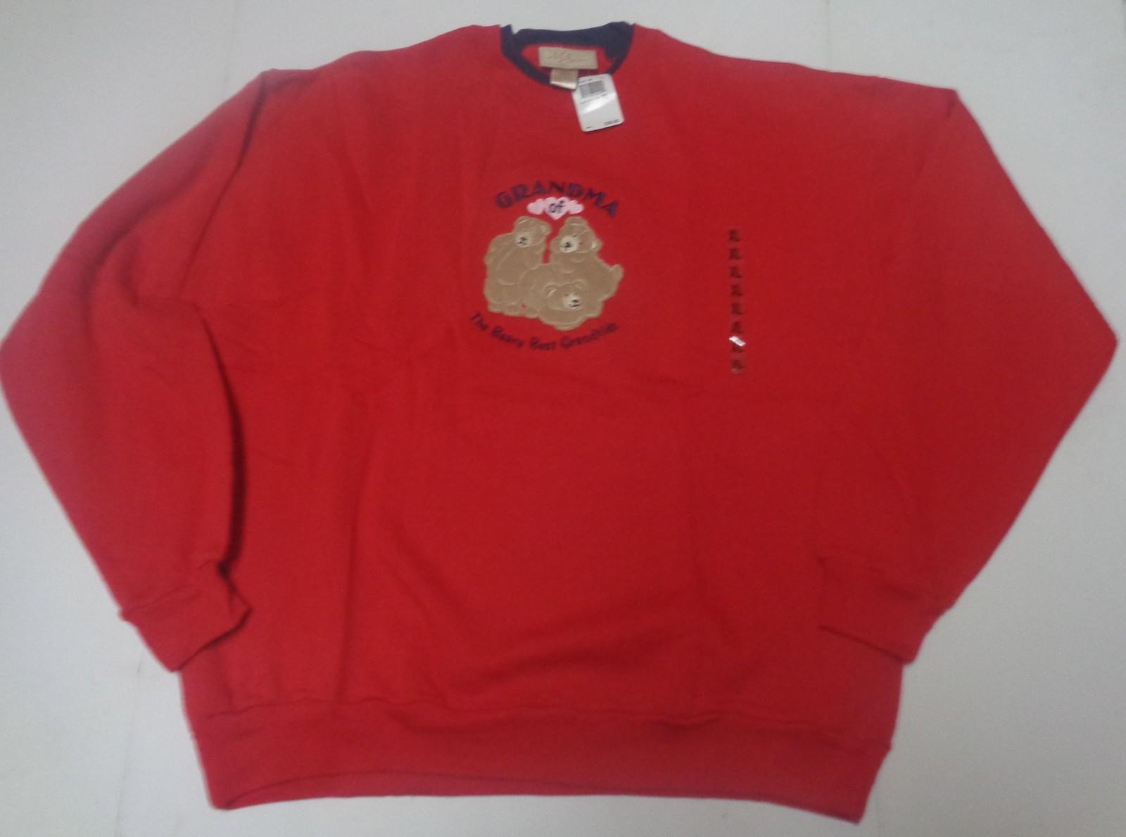 GRANDMA OF THE BEARY BEST GRANDKIDS Sweatshirt NWT SZ XL M&C Sportswear