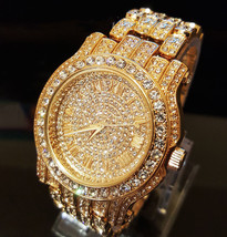Men Hip Hop Gold Plated Iced Out Bling Lab Diamond Luxury Style Metal Ba... - $27.36 CAD
