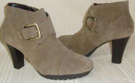 Aerosoles HeelRest Monument Suede Leather Buckle Booties Boot Heels Wome... - $13.85