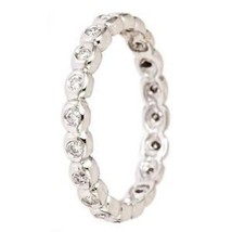 0.30 ct G-SI Diamond Wedding Anniversary Eternity Band Ring 14k White Gold - €485,59 EUR