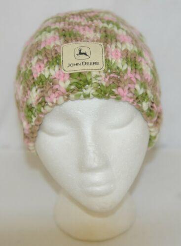 John Deere LP67784 Green White Pink Brown Knitted Hat Acrylic