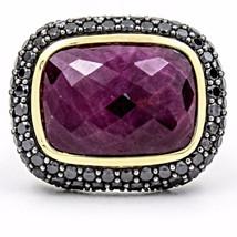 David Yurman 18k Gold Sterling Silver Ruby Black Diamond Waverly Ring - $2,128.50