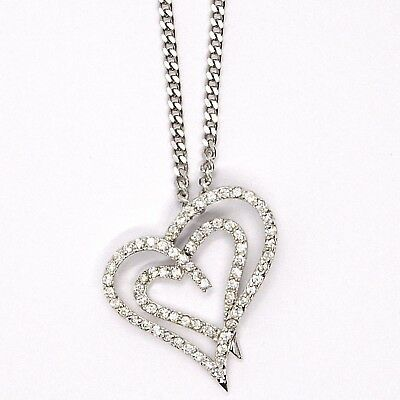 Silver 925 Necklace Chain, Grumette, Pendant Charm Double Heart Cubic Zirconia