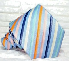Luxury striped blue tie 100% silk new Made in Italy Morgana brand new ne... - $25.74