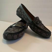 Coach Signature C Olive Jacquard Flat Loafer Black Logo Women's Shoe Size 9.5B - $69.99