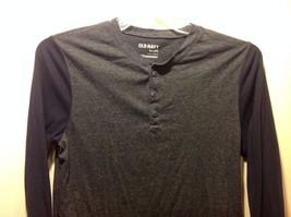 Men's Dark Gray Torso Shirt w Navy Blue Long Sleeves by Old Navy Sz S image 1