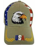 USA American Bald Eagle Patriotic Adjustable Baseball Cap RWB Piping KHAKI - $11.95