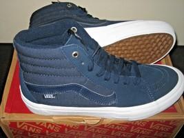 03f3790657 Vans Sk8-Hi Pro Mens Navy Blue White Suede Canvas Skate shoes Size 7.5 NWT