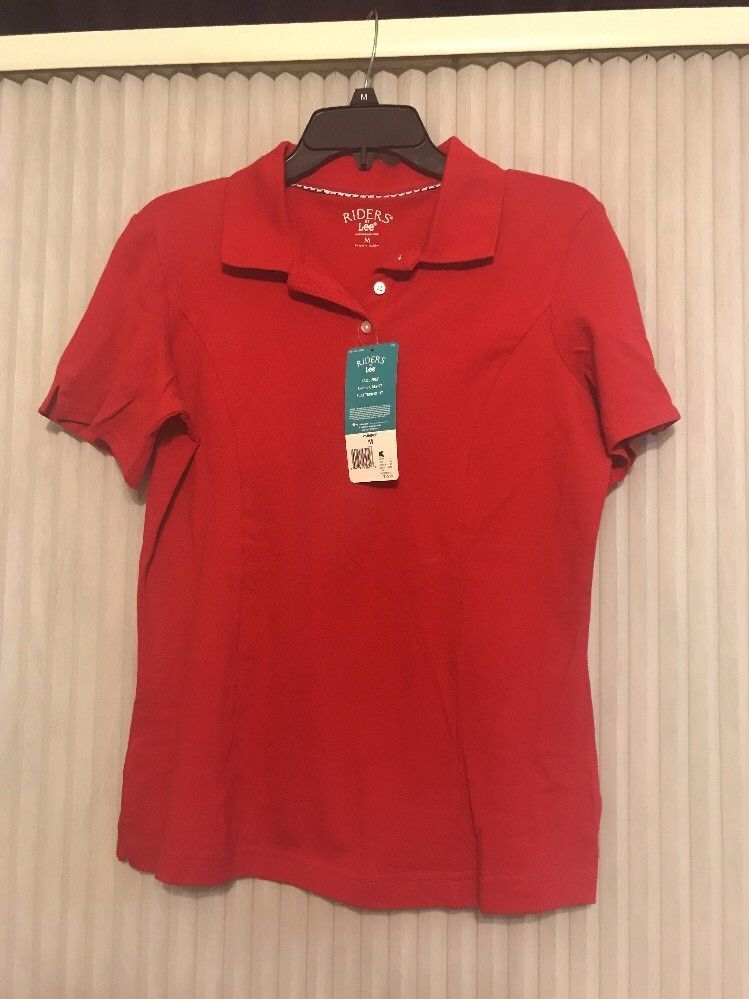 Womens Lee Riders Instantly Slims You Tshirt Red Sz M Cotton Spandex - $11.86