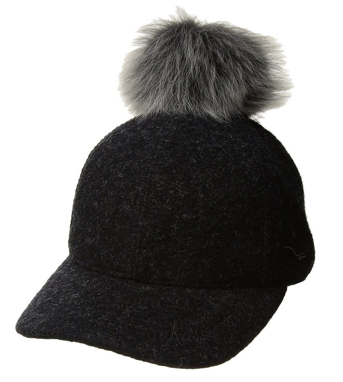 Womens UGG Fabric Baseball Hat with Fur Pom in Black Heather [16120]