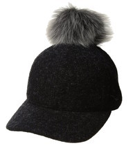Womens UGG Fabric Baseball Hat with Fur Pom in Black Heather [16120] - ₨5,011.06 INR