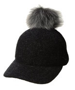 Womens UGG Fabric Baseball Hat with Fur Pom in Black Heather [16120] - $77.99
