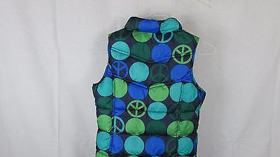 4ae714c96993f Girls Old Navy blue green dots peace signs puffer vest XL 14 16 fleece lined