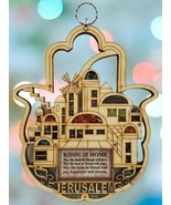 Jerusalem Hamsa Hand Wood Home Decor Blessing Wall Hanging Semi Precious... - $33.66