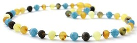 Unpolished Baltic Amber Necklace for Adults Made with Aquamarine Beads -... - $28.62