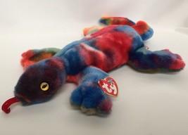 TY Lizzy Lizard Beanie Buddy Buddie Retired Tags Plush Stuffed Multi Color - $7.55