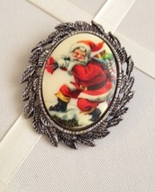 Vintage Silver Tone Milk Glass Christmas Santa Oval Cameo Fashion Brooch - $30.00
