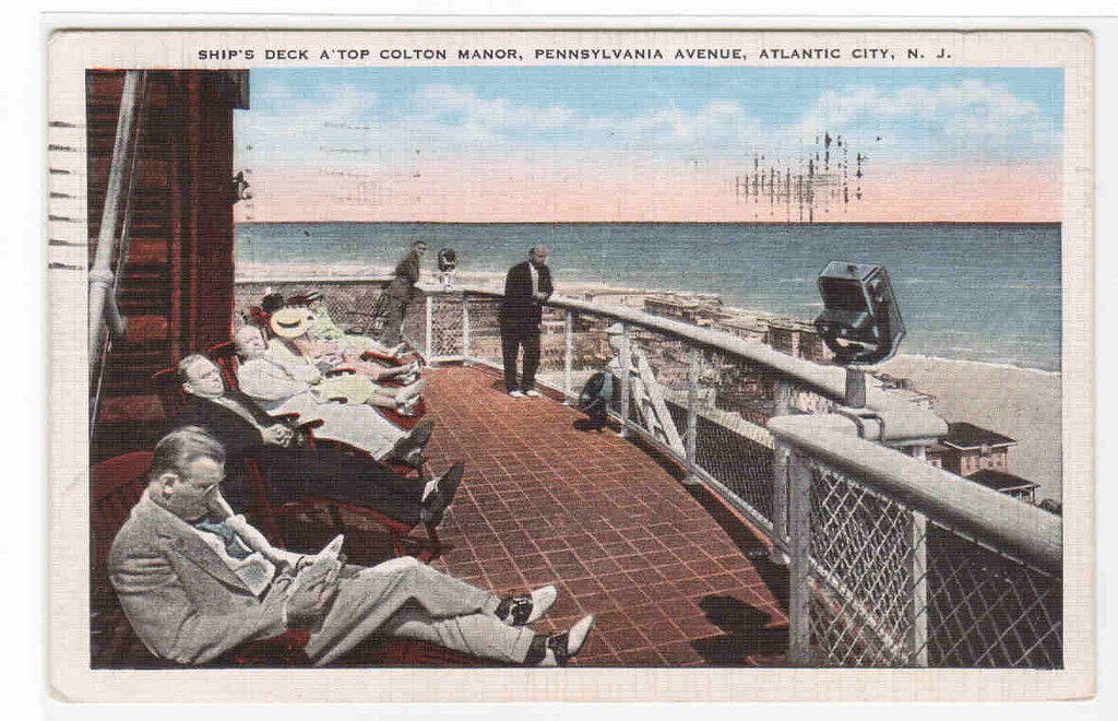Ship's Deck A'Top Colton Manor Atlantic CIty New Jersey 1938 postcard