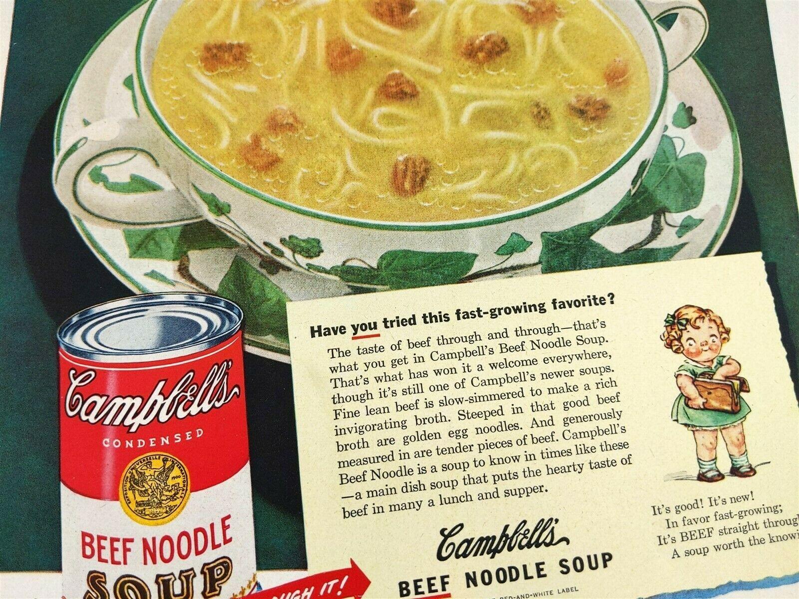 1948 Campbell's Beef Noodle Soup Vintage Magazine Print Ad image 2