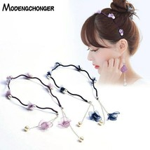 Hairbands Sweet Flowers Pearls Hair For Women Girls Tassel Earring Hair ... - $3.27+