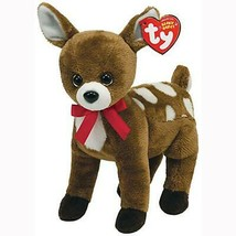 Chestnut The Reindeer with Red Ribbon Ty Beanie Baby MWMT Retired Christmas - $14.80