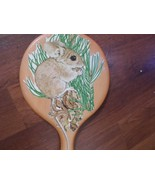 Vintage Wood Long Handled Mirror w decopague mouse. rustic decor - $5.51