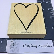 Stampin Up Rubber Stamp Heart 1996 Wood Mount - $5.88
