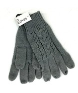Womens Gray Cable Knit Gloves Knit One Size Fits Most NEW - $9.90