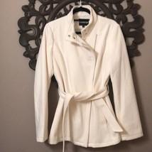 Express Asymmetrical Wool Coat Ivory/Cream Sz L - $74.79