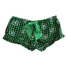 Victorias Secret Green & Black Buffalo Check Ruffled PJ Pajama Shorts Si... - $11.29