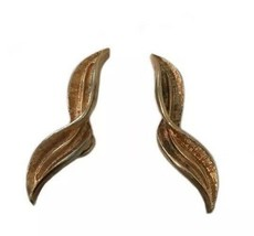 Vintage Coro Twist Leaf Gold Colored Signed Earrings Clip On - $18.80