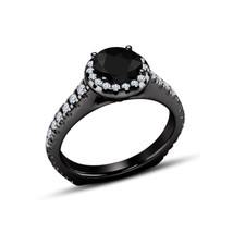 Round Cut CZ 14k Black Gold Plated 925 Sterling Silver Women's Engagement Ring - $79.20