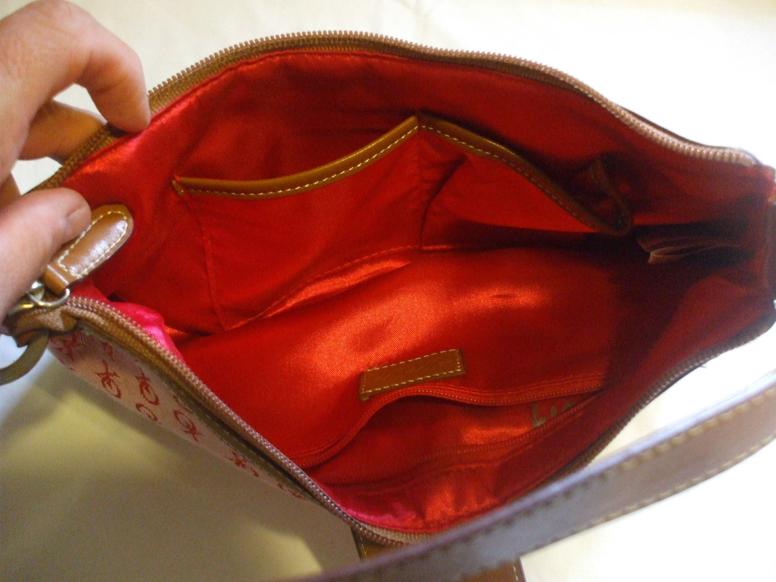 XOXO Red Nylon Purse Handbag With Brown Leather Strap