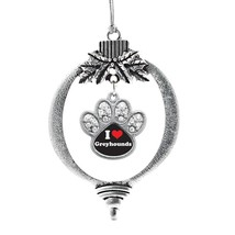 Inspired Silver I Love Greyhounds Pave Paw Print Charm Holiday Christmas Tree Or - $14.69