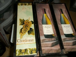 3 PC CHARDONNAY WINE RARE BLACK WOOD COLLECTOR STORAGE BOXES w HINGES & ... - $14.85