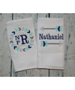Personalized Baby Boy Burp Cloth set of 2 with Tribal Arrows Monogrammed - $18.00
