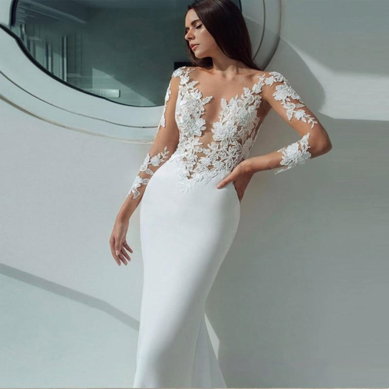 dresses mermaid 2019 appliques sexy illusion long sleeve stain wedding gown white ivory vestido
