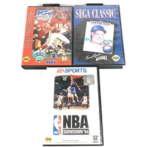 Sega Genesis 3 Game Lot Sports Bundle NFL NBA Baseball Football Basketball - $6.90