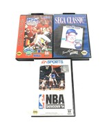 Sega Genesis 3 Game Lot Sports Bundle NFL NBA Baseball Football Basketball - $6.90