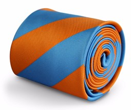 Frederick Thomas Designer Mens Tie - Burnt Orange & Light Blue Repp Club... - $13.39