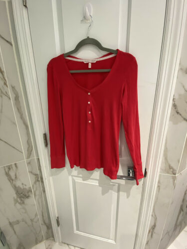 Primary image for Victorias Secret Womens Red V Neck Henley Buttons Long Sleeve Tshirt Size Large