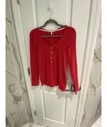 Victorias Secret Womens Red V Neck Henley Buttons Long Sleeve Tshirt Siz... - $8.72