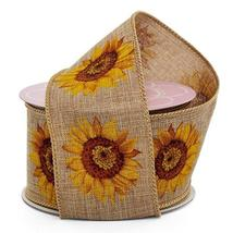 "Natural Linen Sunflower Wired Edge Multipurpose Craft Ribbon, 2.5"" x 10 ... - $12.00"