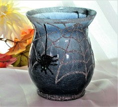 Halloween Glittery Blue Crackled Glass Pillar Candle Holder Silver Spide... - $10.93