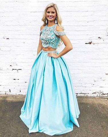 Blue two pieces beads long prom dresses, blue evening dresses,PD30007