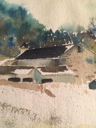 Millicent Hancock / Original Watercolor/ Winter In The Mountains