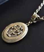 Locket Necklace, Cross Locket Necklace, Cross Necklace, oval locket (455) - $19.99