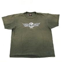 Harley Davidson Mda Black-N-Blue Boule Chemise Taille XXL 2XL Distress 2005 - $30.28