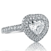 Heart Shaped 1.35 Ct F-SI1 Diamond Engagement Halo Ring Pave Set 18k Whi... - €2.424,65 EUR
