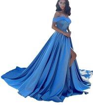 Women's Off Shoulder A Line Split Prom Evening Dresses Long Satin Formal... - $119.99